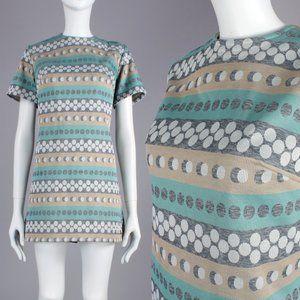 L Vintage 60s Teal Op Art Mod Mini Dress MCM